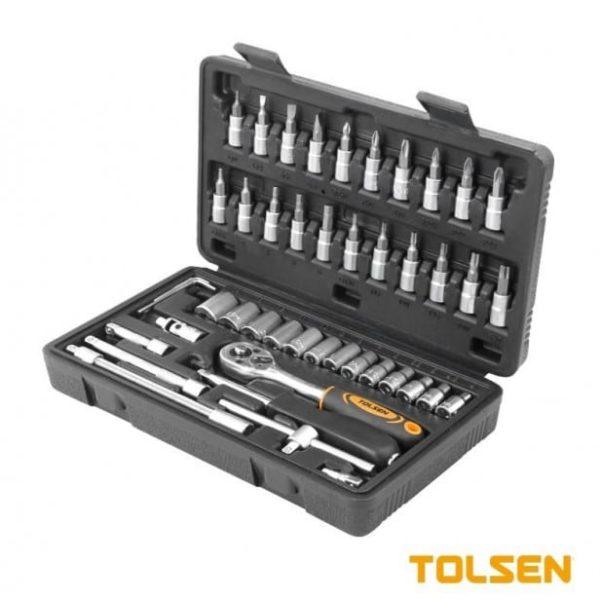 TOLSEN 46PCS 1/4″ SOCKET SET 4-14mm Metric Socket